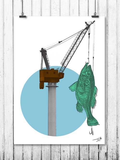 FISHING GRUA - Bayprints, Serigrafía de edición limitada, un homenaje a los astilleros de Vigo y su puerto, diseño de Tirso Sánchez Otaegui.