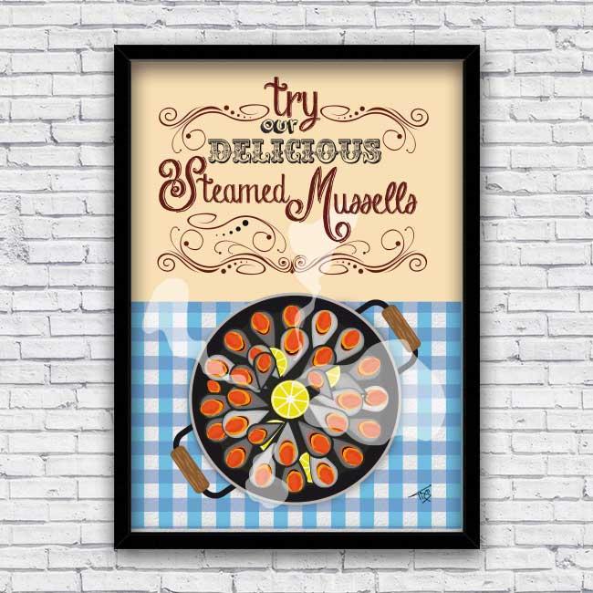 Bayprints Baiona mejillones al vapor, steamed mussels, diseño de Tirso Sánchez Otaegui
