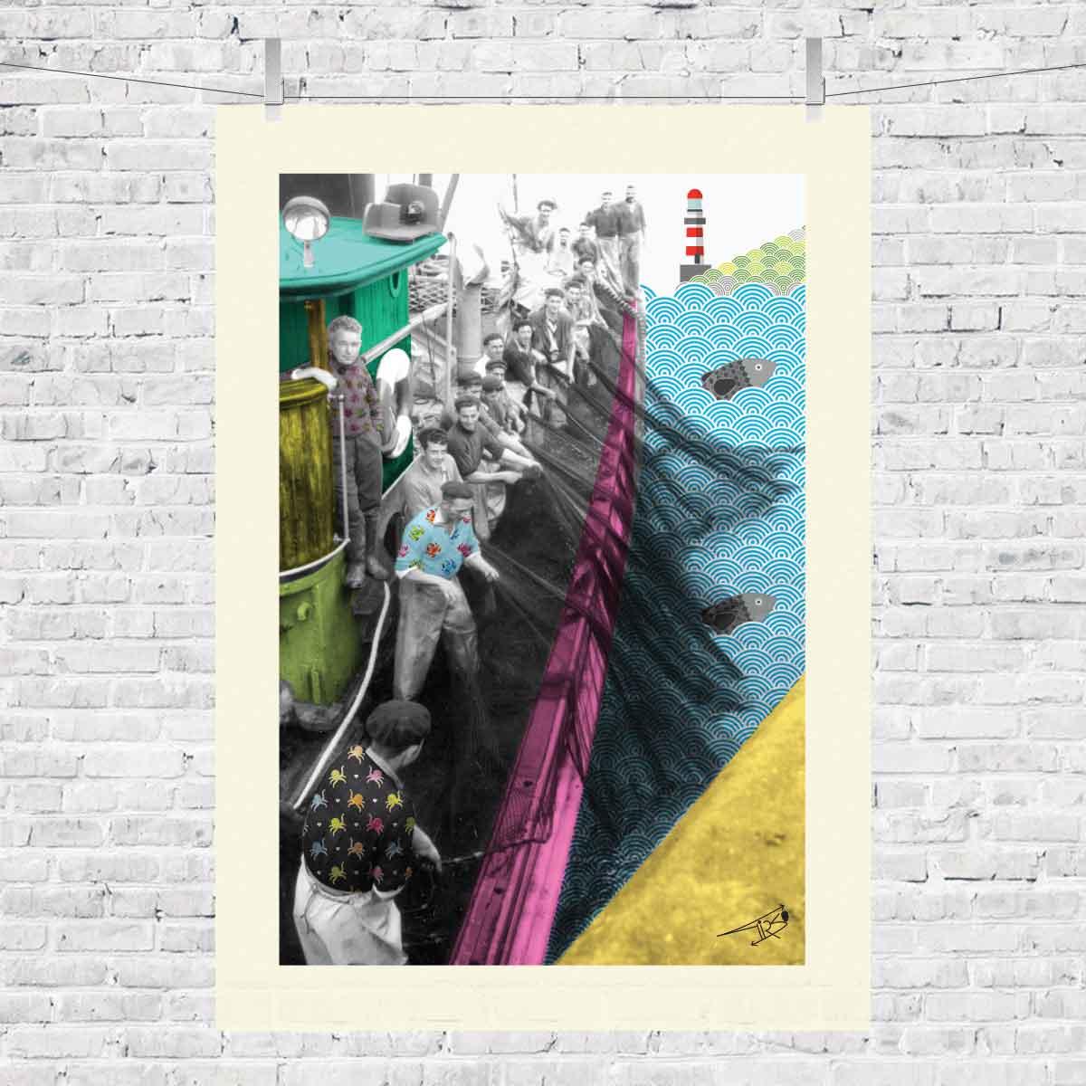 mariñeiros_marineros_baiona_erizana_bayprints_souvenir_shop_tienda_lamina_camiseta_marisco_pescado_souvenirs_baiona_souvenart_shop